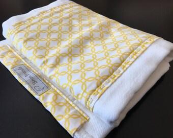 Yellow Square Print Burp Cloth
