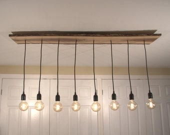 Special Wooden Edison Chandelier One of a kind Beautiful 8 Pendant Lighting Fixture