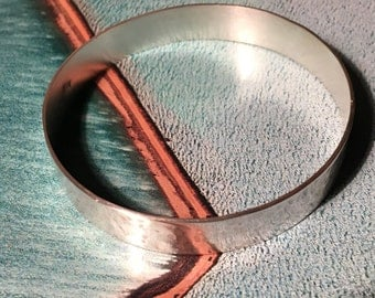 Sterling Silver Bangle Hammered textured handmade solid 925