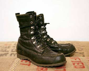 Vintage Ted Williams Leather Hunting Camping Combat Work Moc Toe Boots Dark Green Olive USA Women's 8