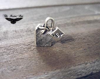 "Tea Charm Tea Bag Charm Antiqued Silver Tea Pendant 3D Tea Party Charm 15mm .59"" Word Charm"
