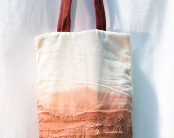 Tote bag recycled cotton white and orange