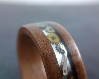 Bentwood Ring - Steampunk - Tasmanian Myrtle with clockwork channel - Handcrafted - Custom Made