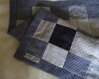 Baby boy quilt. Handmade cotton patchwork quilt.  Navy and grey.
