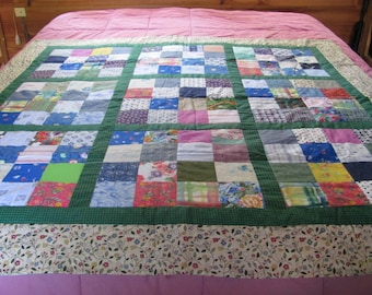 Beautiful Traditional Look Scrap Pieced Lap or Child Quilt