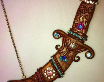 Sultan's Dagger, dagger necklace, polymer dagger,  dagger