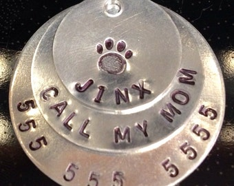 "1 1/4"" hand stamped pet id tag aluminum"