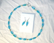 """Aqua blue handmade watercolor beaded necklace and earring set, """"15 choker with lime green glass crystal, silver spacers"""