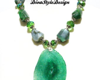 Apple Green Chunky Agate Statement Necklace with Crystals
