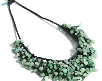 Green Statement Necklace Beaded Necklace boho chic Hypo- allergenic Vagan