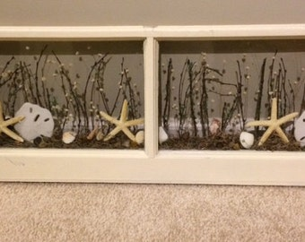 Repurposed Antique window with a Beachy View
