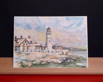 Portland Head Lighthouse - Original Watercolor Painting - ACEO