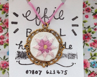 Pink Flower Embroidery Necklace