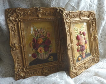 VINTAGE PLASTER PICTURES....pair wall plaques..ornate moulded embossed frames..chalk plaster..original 1950s..small..retro flowers..kitsch