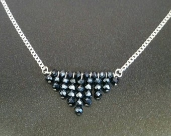 Beaded Navy Blue Triangle Necklace