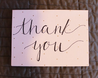 Gold Dotted Modern Calligraphy Thank You Cards