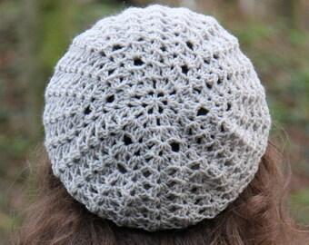 Gray crochet beret