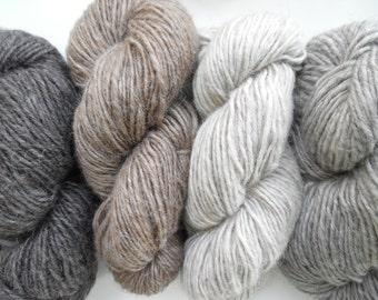 Bulky Icelandic Sheep Lopi Yarn Skein No Dye Natural Color Wool, Brown, Gray, Ecru
