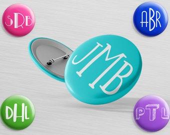 Monogram Button - Name Tag Pin - Backpack Flair Pin - Hi Pin - Pinback Button - Locker Decor - Backpack Pin - Custom Initial Badge