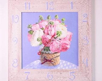 "Wall Clock ""White Pionies"""