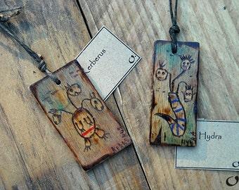 Cerberus;Hydra-handmade wooden pendants,wooden necklace,wooden pendant,mythology pendant,funny pendant,pyrography,wooden jewelry,handmade