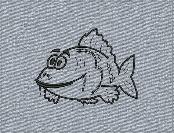 Carp - freehand drawing - Machine embroidery design - 2 sizes for instant download