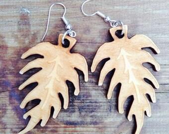 Natural leaf wooden earrings