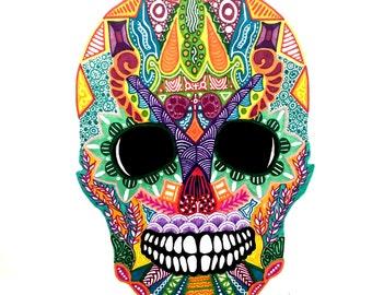 """Zentangle Skull - """"Dia De Los Muertos....but happy"""""""