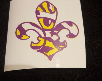 LSU tiger eye fleur de lis decal