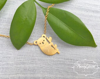 Koala, gold koala necklace, koala charm, koala pendant, koala jewel, collarbone koala, nature inspired jewel, birthday gift, animal necklace