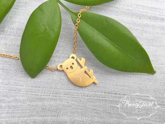 Koala, gold koala necklace, koala charm, koala pendant, koala jewel, collarbone koala, nature inspired jewel, birthday gift, animal necklace