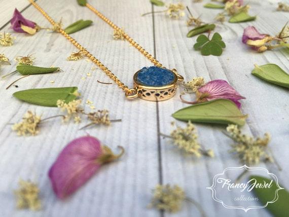 Blue quartz crystal necklace, blue stone, precious stone, 18k gold plated, druzy, crystal pendant, wedding gift, bridesmaid gift, birthstone