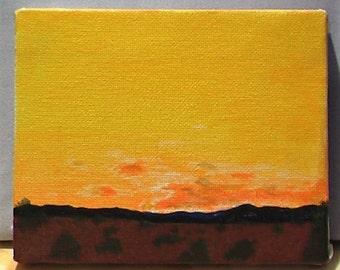 New Mexico Sunrise in acrylic. Unframed on canvas.