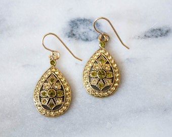 Gold and Chartreuse Teardrop Earrings