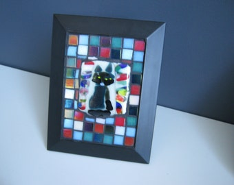 Mosaic Fused Glass Cat Picture (1)