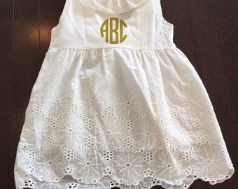 Monogram Dress, White Dress, White Eyelet Dress, Birthday Outfit, Birthday Dress, Cotton Dress