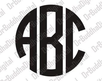 Sale! Circle Monogram Font SVG Collection - Circle Monogram Alphabet DXF - Letter Clipart - SVG Files for Silhouette Cameo or Cricut