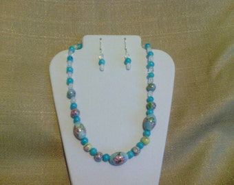 252 Baby Blue Hand Painted Porcelain Beads Beaded Necklace
