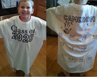 Personalized Name and Class year keepsake shirt for handprint each year