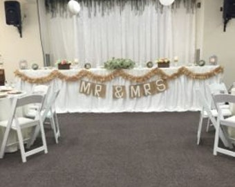 Mr. & Mrs. Banner with Handmade Wedding Ruffled Burlap Ribbon