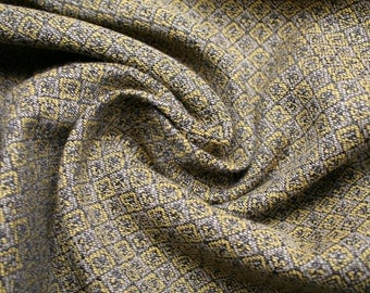 Made in Italy Jacquard fabric with small mustard yellow patterns, in oriental style