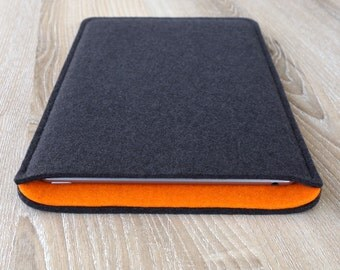 sleeve for iPad 2 / iPad 3 / iPad 4 · wool felt (100% wool) case cover · made in Germany · color: ANTHRACITE/ORANGE