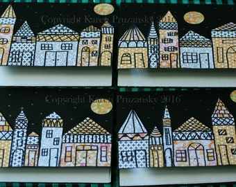 Greeting Card Set: Evening Village; Envelopes; Stickers; Blank Greeting Cards; All Occasion Greeting Cards; Art Greeting Cards; Original