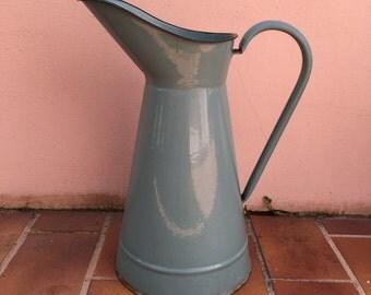 Vintage French Enamel pitcher jug blue grey water enameled