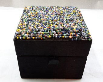 Beaded Jewelry Box multi glass beads fabric