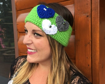 Green Earwarmer with Hearts