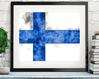 Finland Flag Art, Finland Flag Print, Flag Poster, Country Flags, Watercolor Painting, Watercolor Flag, Poster, Wall Art, Helsinki, Finnish