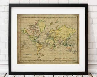 World Map Print, Vintage Map Art, Antique Map Wall Decor, History Gift, World Map Poster, World Map Wall Art, Industrial, Rustic, Atlas