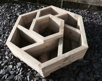 Hexagon herb wheel wooden planter 2-tier 70cm