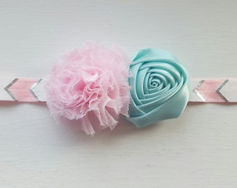 Light Pink And Mint Flowers On A White, Light Pink, and Silver Headband. Stretch Headband. Hair Clip.